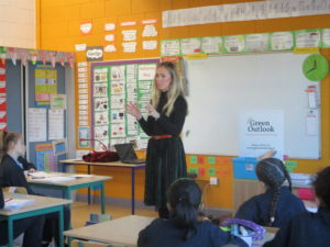 Fiona Founder of Green Outlook talks to 5th class students about starting a sustainable business