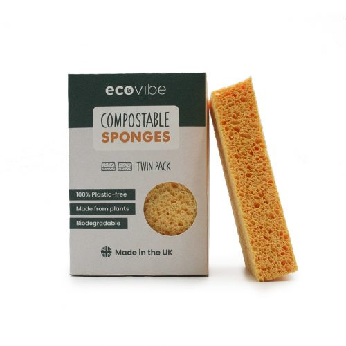 Two pack of Compostable Sponges. Yellow with cardboard packaging