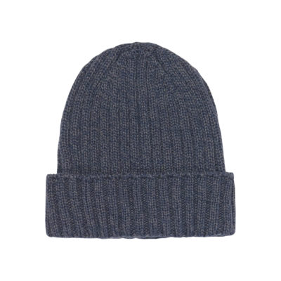 Navy Merino Wool Ribbed Hat